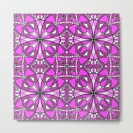 Pink Stained Glass Metal Print