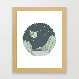 Cat Moon Framed Art Print