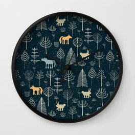 Magic Storybook Northwest Forest Pattern Wall Clock