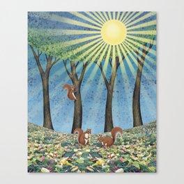 sunshine squirrels Canvas Print