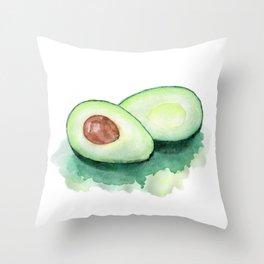 Avocado Watercolor Throw Pillow