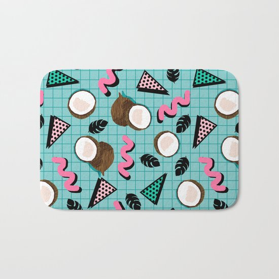 More Coconuts tropical summer vibes memphis abstract pattern print design by wacka Bath Mat