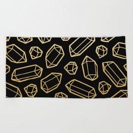 Black & Gold Crystal Pattern Beach Towel