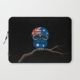 Baby Owl with Glasses and Australian Flag Laptop Sleeve