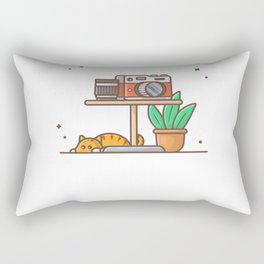 Camera and lens on the table Rectangular Pillow