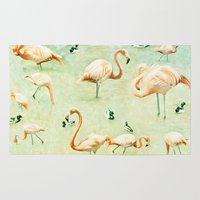 flamingos Area & Throw Rugs featuring Flamingos by Lisa Argyropoulos