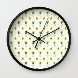Pastel yellow brown green cactus floral dots summer pattern Wall Clock