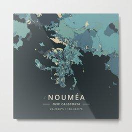 Noumea, New Caledonia - Cream Blue Metal Print