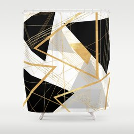 Black and Gold Geometric Shower Curtain