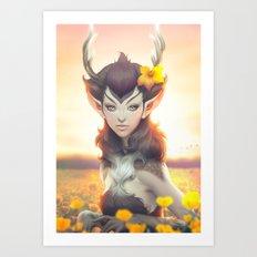 Deer Princess Art Print