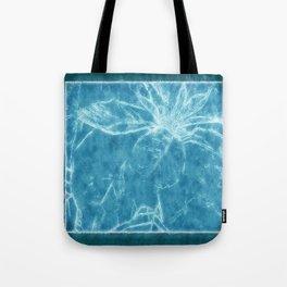 Mottled Red Poinsettia 1 Ephemeral Outlined Blue Tote Bag