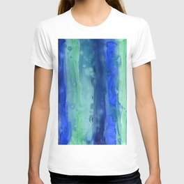 Abstract Watercolor Vertical Blue Sea Stripes T-shirt