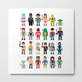 Pixel Characters Metal Print