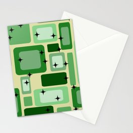 Revival Rectangles Mid Century Pattern - green Stationery Cards