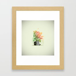 Kiwi, the little cute black cat playing with butterflies Framed Art Print