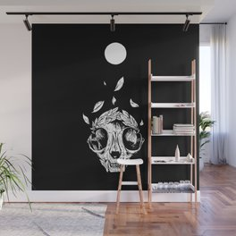 The concept of winning (lucky cat skull + laurel wreath) Wall Mural