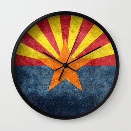 State flag of Arizona in Vintage Grunge Wall Clock