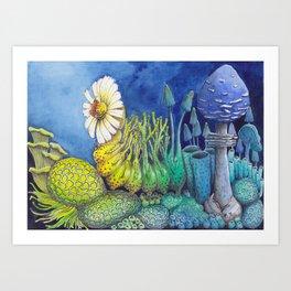 Ascent - Caterpillar in Hues of Blues Art Print