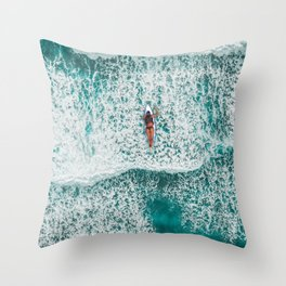 Girl Surfing Throw Pillow