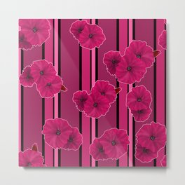 Floral pattern on striped background Metal Print