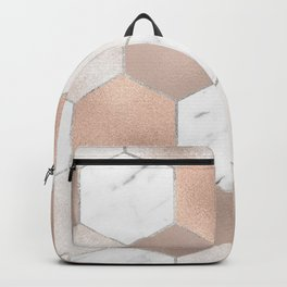 Rose pearl and marble hexagons Backpack