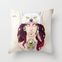 mononoke Throw Pillows featuring Mononoke by Electricalivia