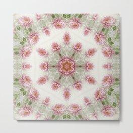 Pink Chrysanthemums Kaleidoscope Art 4 Metal Print