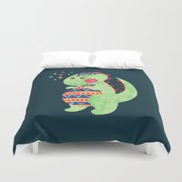 trex Duvet Covers featuring Green Dino by haidishabrina