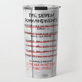 The Seven Commandments - Animal Farm Travel Mug