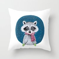 racoon Throw Pillows featuring Racoon by Sophie Pittaway