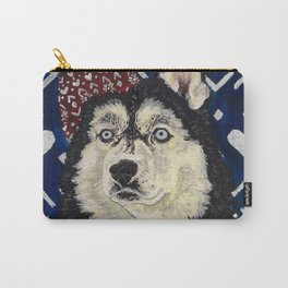 Husky in a Hat and Scarf Carry-All Pouch