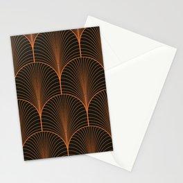Vintage black and bronze orange seamless pattern Stationery Cards