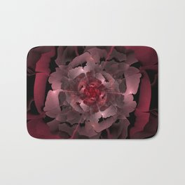 Abloom in Lusciously Crimson-Red Petals of a Rose Bath Mat