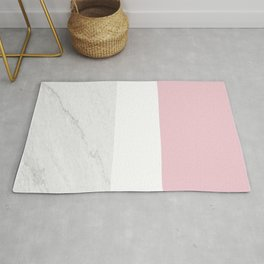 Marble Dusty Pink White Color Block Modern Geometry Rug