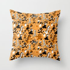 Monster March (Orange) Throw Pillow