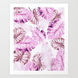Pastel Monstera pattern Art Print