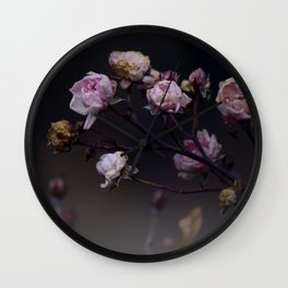 Delicate Dried Pink Mini Roses on Smoky Dark Grey Wall Clock