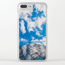 Cloud reflection in the Louvre Pyramid Clear iPhone Case