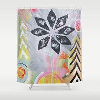 """flora bowley Shower Curtains featuring """"Intermix"""" Original Painting by Flora Bowley by Flora Bowley"""