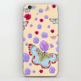 WHITE-RED BUTTERFLIES AMONG FLOATING PINK ROSES iPhone Skin
