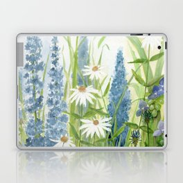 Watercolor Botanical Garden Flower Wildflower Blue Flower Garden Laptop & iPad Skin