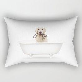 Golden Retriever in a Vintage Bathtub Rectangular Pillow
