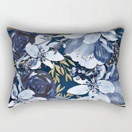 Navy Blue & Gold Watercolor Floral Rectangular Pillow