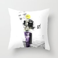 manchester Throw Pillows featuring Manchester Street FASHION by Anca Pora