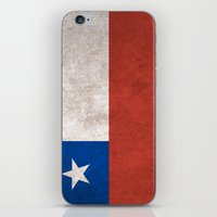 chile iPhone & iPod Skins featuring Chile Flag (Vintage / Distressed) by Patterns
