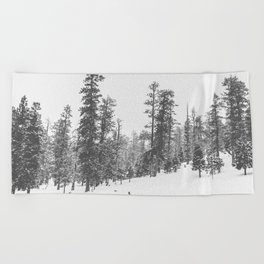 Sledding // Snowday Winter Sled Hill Black and White Landscape Photography Ski Vibes Beach Towel