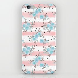 Pink teal watercolor modern stripes floral dots iPhone Skin