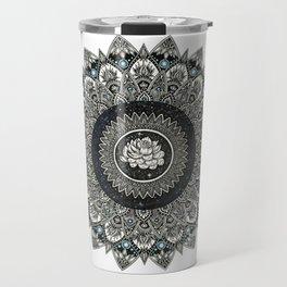 Black and White Flower Mandala with Blue Jewels Travel Mug