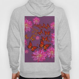 Puce Purple Pink Cacti Flowers Butterflies Art Hoody