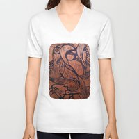 wesley bird V-neck T-shirts featuring bird      by Amy Fan